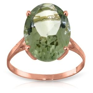 SOLID GOLD RING WITH NATURAL GREEN AMETHYST
